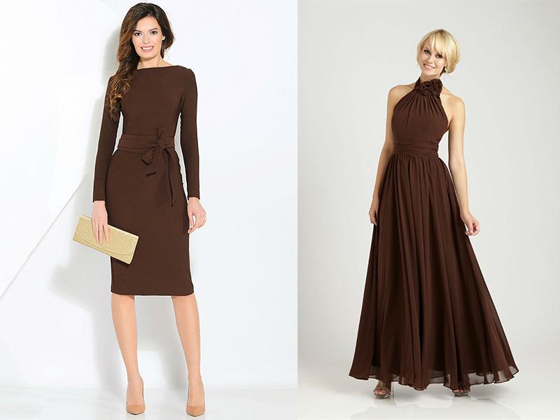17ddb5b62da Великолепно смотрится коричневое платье-футляр без отрезной линии на талии